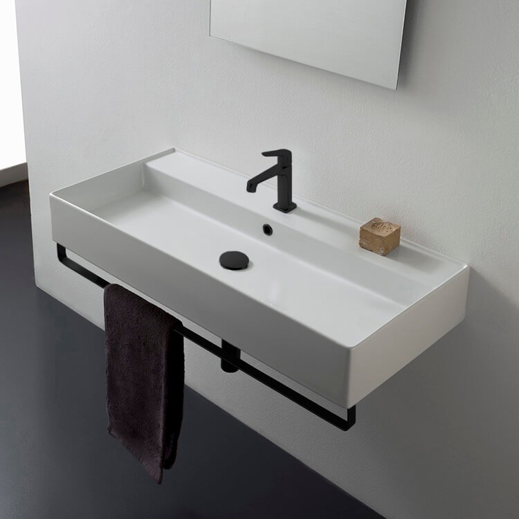 Bathroom Sink, Scarabeo 8031/R-100A-TB-BLK-One Hole, Rectangular Wall Mounted Ceramic Sink With Matte Black Towel Bar