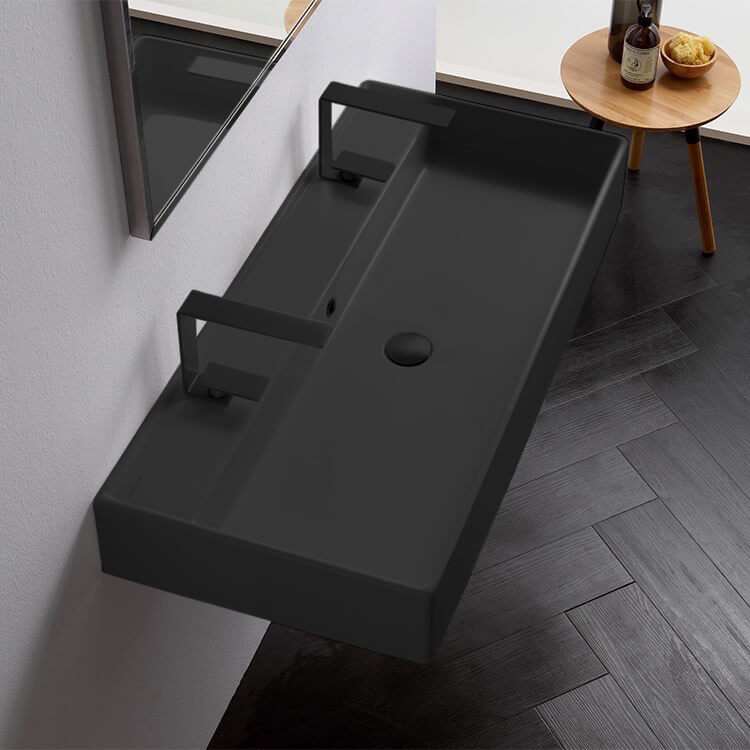 Bathroom Sink, Scarabeo 8031/R-100B-49-Two Hole, Matte Black Ceramic Trough Wall Mounted or Vessel Sink