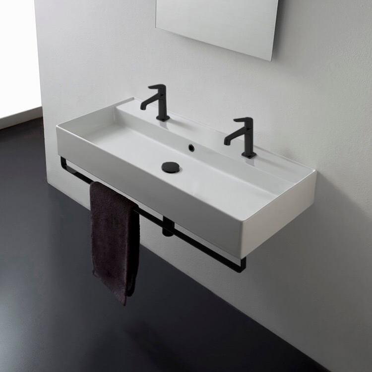 Bathroom Sink, Scarabeo 8031/R-100B-TB-BLK-No Hole, Wall Mounted Double Ceramic Sink With Matte Black Towel Bar