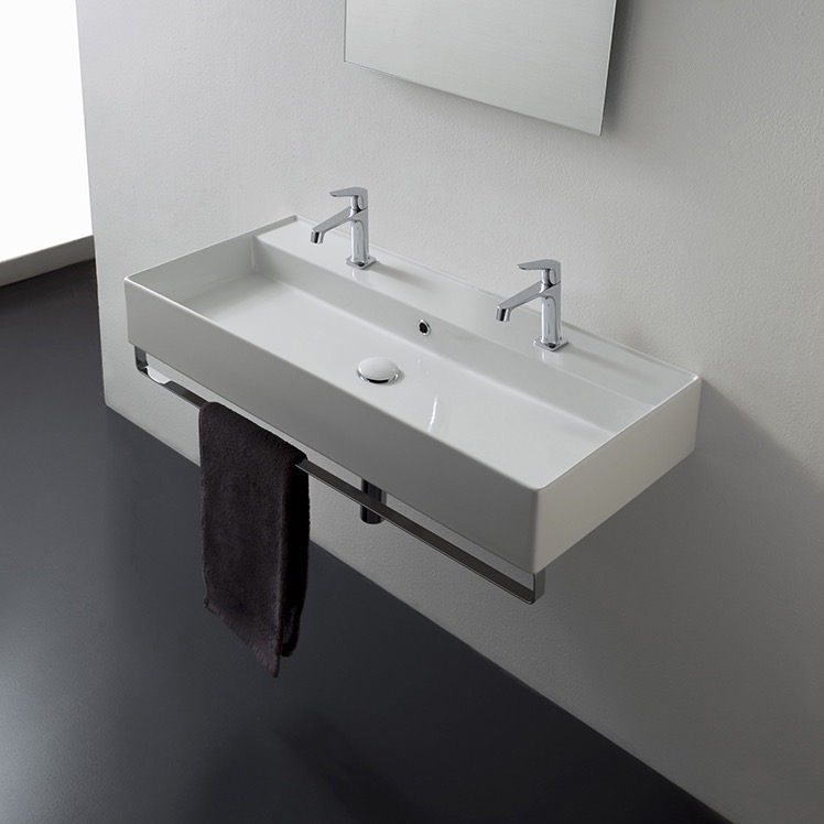 Bathroom Sink, Scarabeo 8031/R-100B-TB-Two Hole, Wall Mounted Double Ceramic Sink With Polished Chrome Towel Bar