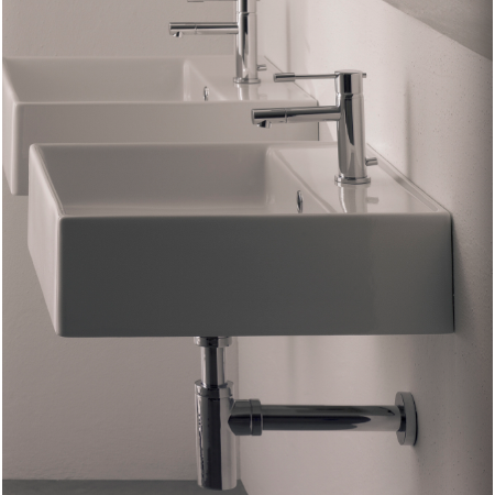 Bathroom Sink, Scarabeo 8031/R-One Hole, Square White Ceramic Wall Mounted or Vessel Sink