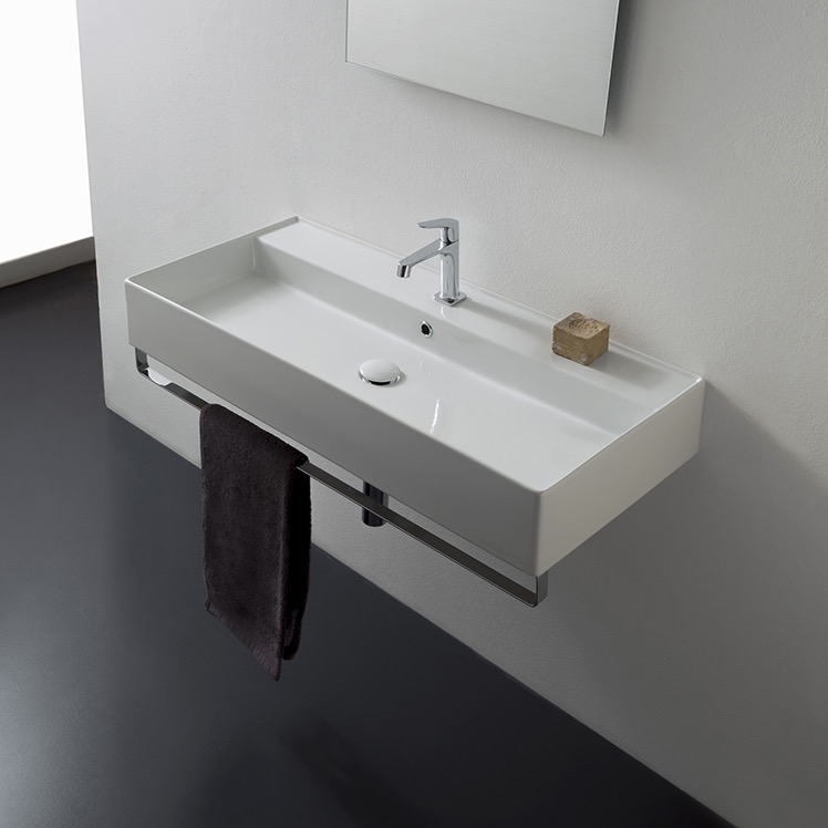 Bathroom Sink, Scarabeo 8031/R-120A-TB-One Hole, Rectangular Wall Mounted Ceramic Sink With Polished Chrome Towel Bar