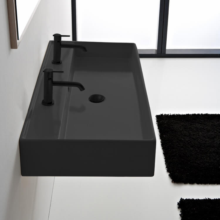 Bathroom Sink, Scarabeo 8031/R-120B-49-Two Hole, Matte Black Ceramic Trough Wall Mounted or Vessel Sink