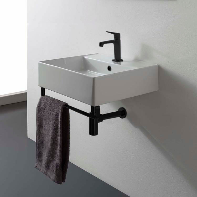 Bathroom Sink, Scarabeo 8031/R-40-TB-BLK-One Hole, Square Wall Mounted Ceramic Sink With Matte Black Towel Bar