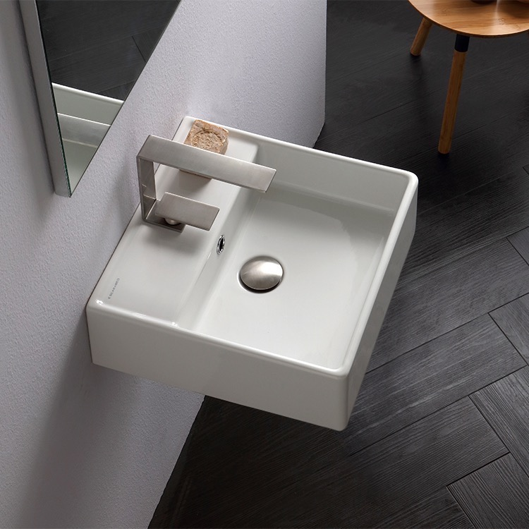 Bathroom Sink, Scarabeo 8031/R-40-One Hole, Square White Ceramic Wall Mounted or Vessel Sink