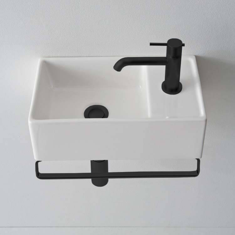 Bathroom Sink, Scarabeo 8031/R-41-TB-BLK-One Hole, Small Wall Mounted Ceramic Sink With Matte Black Towel Bar