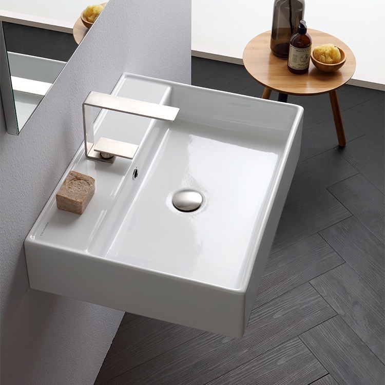 Bathroom Sink, Scarabeo 8031/R-60-One Hole, Rectangular White Ceramic Wall Mounted or Vessel Sink