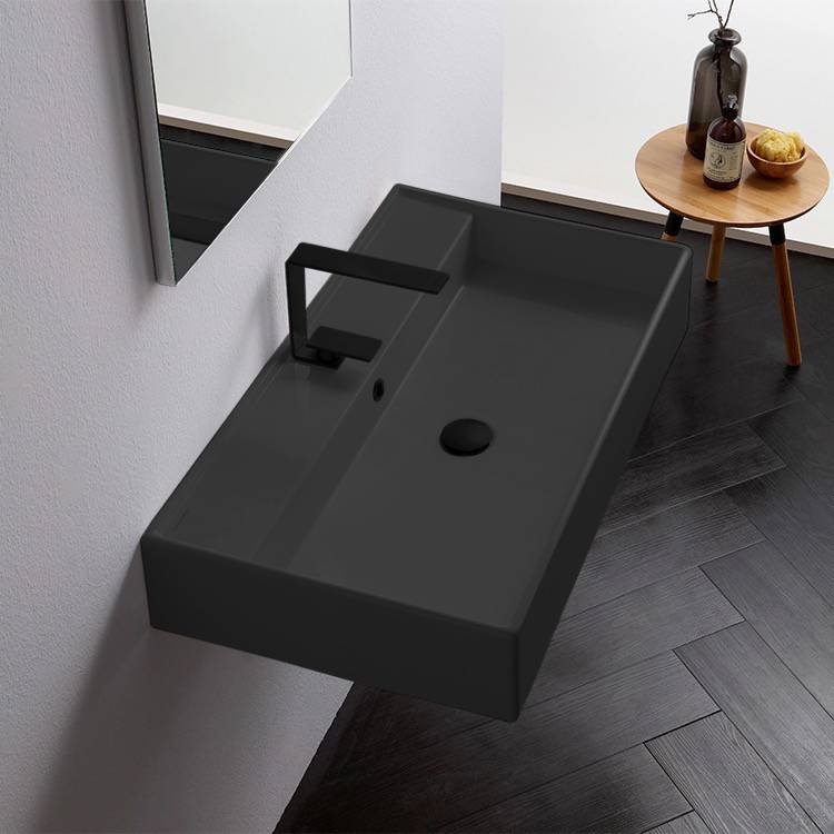 Bathroom Sink, Scarabeo 8031/R-80-49-One Hole, Rectangular Matte Black Ceramic Wall Mounted or Vessel Sink