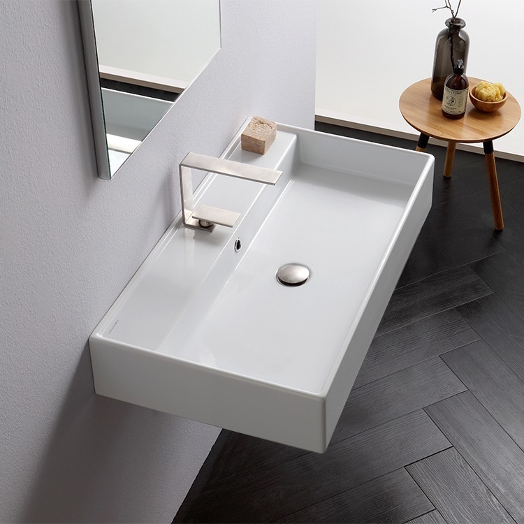 Bathroom Sink, Scarabeo 8031/R-80-One Hole, Rectangular White Ceramic Wall Mounted or Vessel Sink