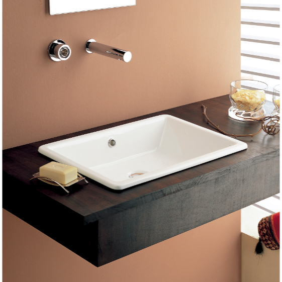Bathroom Sink, Scarabeo 8032-No Hole, Rectangular White Ceramic Drop In or Vessel Sink