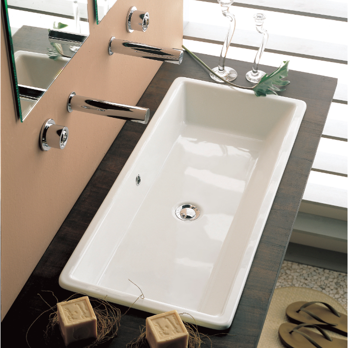 Bathroom Sink Scarabeo 8033 Rectangular White Ceramic Drop In Or Vessel