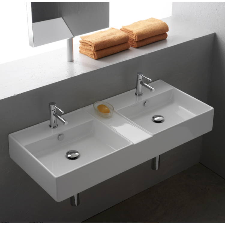 Bathroom Sink Scarabeo 8035 Rectangular White Ceramic Wall Mounted Or Vessel Double