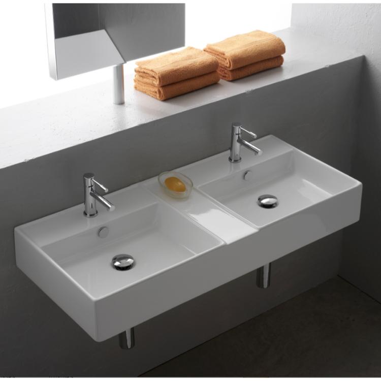 Wall Mounted Rectangular Sink : Bathroom Sink, Scarabeo 8035, Rectangular White Ceramic Wall Mounted ...