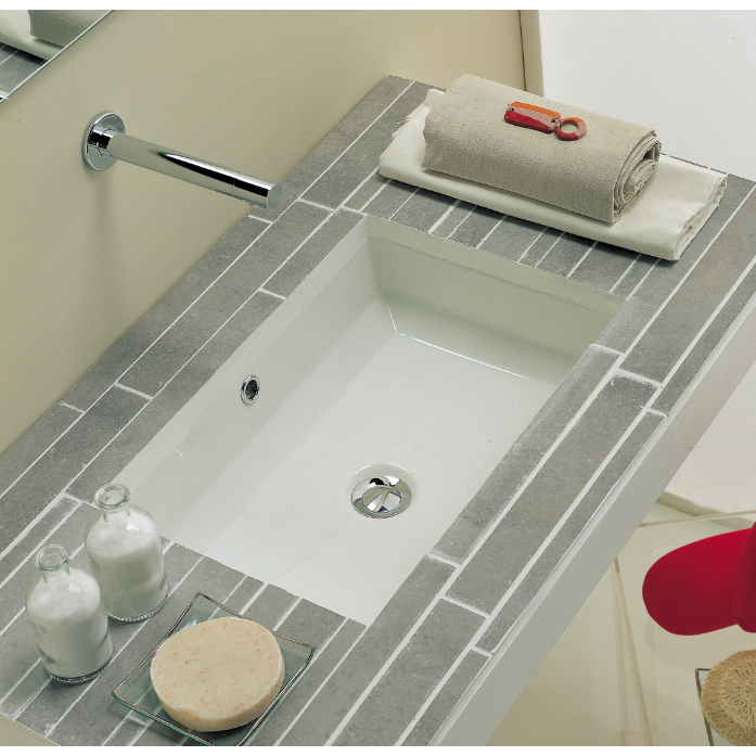 Bathroom Sink Scarabeo 8037 Rectangular White Ceramic Undermount