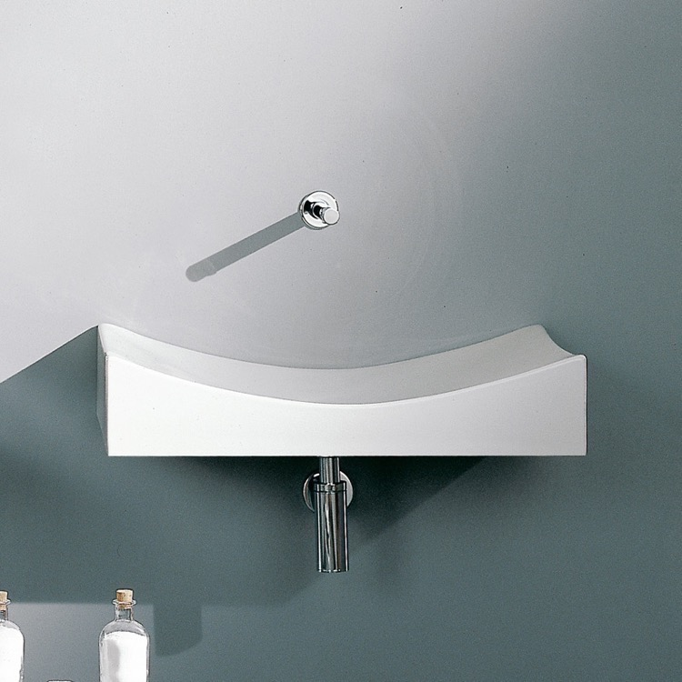 Bathroom Sink, Scarabeo 8038-No Hole, Rectangular White Ceramic Wall Mounted or Vessel Sink