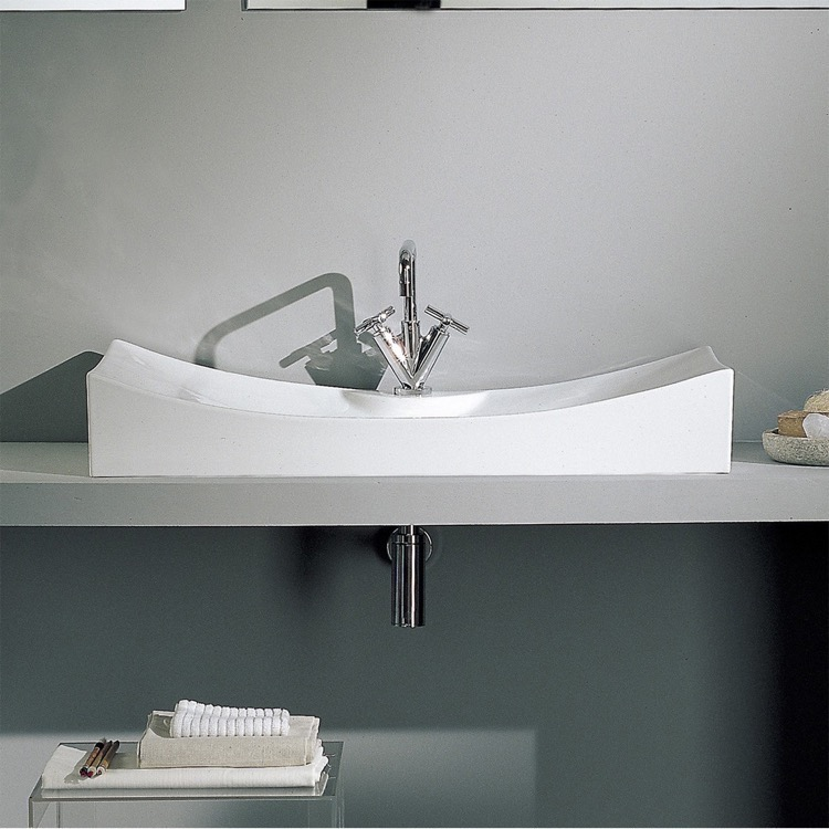 Bathroom Sink, Scarabeo 8038/R-One Hole, Rectangular White Ceramic Sink Wall Mounted or Vessel