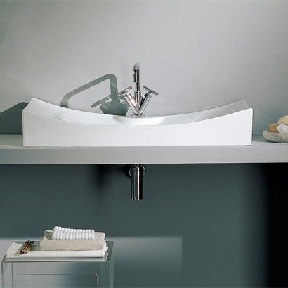 Bathroom Sink, Scarabeo 8039/R-One Hole, Rectangular White Ceramic Wall Mounted or Vessel Sink