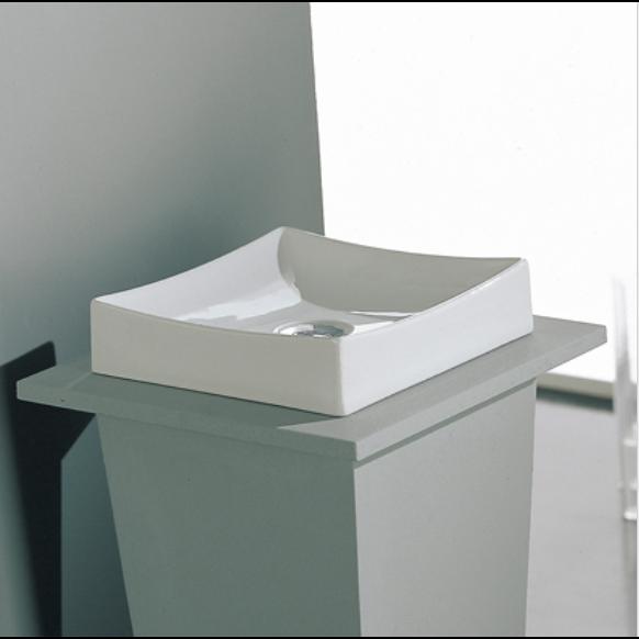 White Square Vessel Sink : Bathroom Sink, Scarabeo 8040, Square White Ceramic Vessel Sink