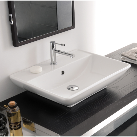 Bathroom Sink, Scarabeo 8046/R-One Hole, Rectangular White Ceramic Wall Mounted or Vessel Sink