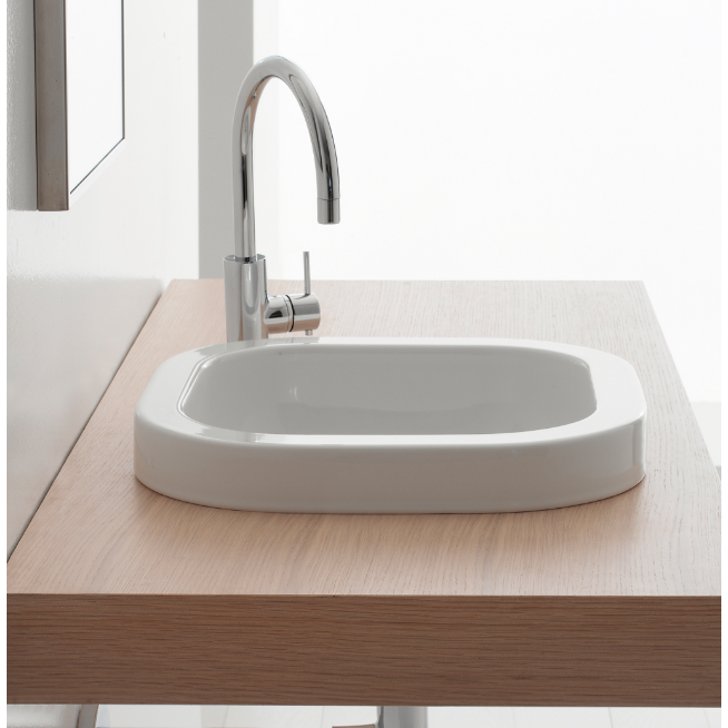 Bathroom Sink, Scarabeo 8047/A-No Hole, Square White Ceramic Drop In Sink