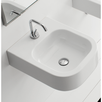 Bathroom Sink, Scarabeo 8047/B-One Hole, Square White Ceramic Wall Mounted or Vessel Sink