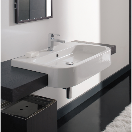 Bathroom Sink, Scarabeo 8047/D-80-One Hole, Rectangular White Ceramic Semi-Recessed Sink