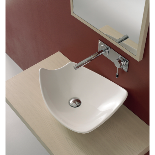 Bathroom Sink, Scarabeo 8051, Rectangular White Ceramic Vessel Sink