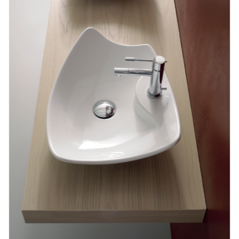Superior Bathroom Sink, Scarabeo 8051/R, Rectangular White Ceramic Vessel Sink