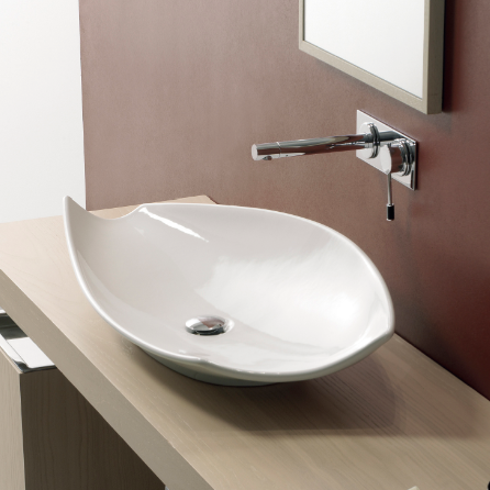 Superbe Bathroom Sink, Scarabeo 8052, Oval Shaped White Ceramic Vessel Sink