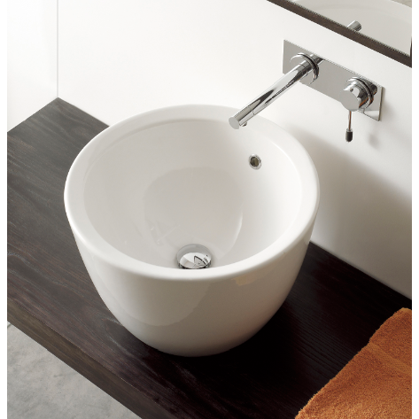 Bathroom Sink, Scarabeo 8055-No Hole, Round White Ceramic Vessel Sink