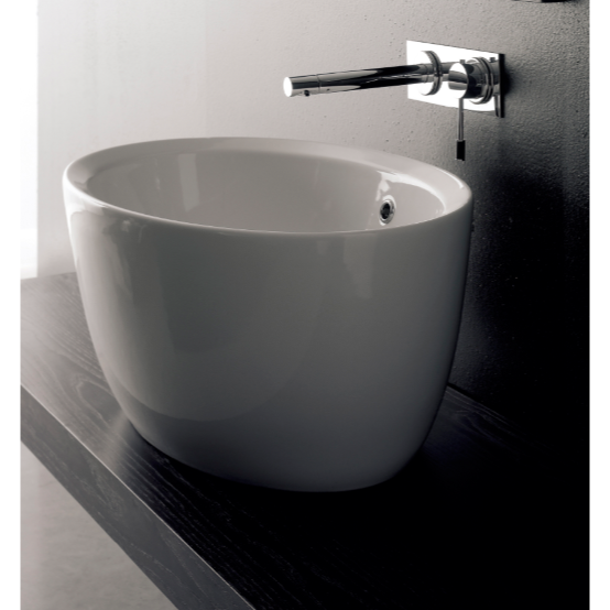 Bathroom Sink, Scarabeo 8056-No Hole, Oval-Shaped White Ceramic Vessel Sink