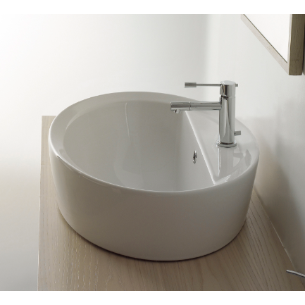 Bathroom Sink, Scarabeo 8056/A/R-One Hole, Oval-Shaped White Ceramic Drop In Sink