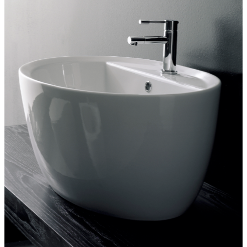 Bathroom Sink, Scarabeo 8056/R-One Hole, Oval-Shaped White Ceramic Vessel Sink