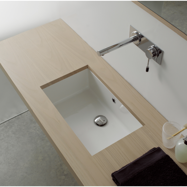 Bathroom Sink, Scarabeo 8092, 35 Inch Rectangular Ceramic Undermount Sink