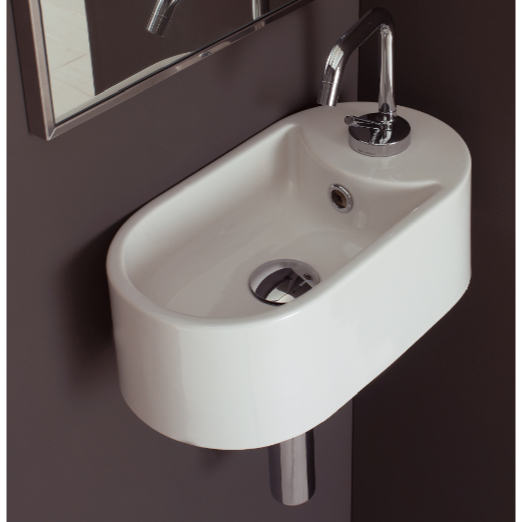 Bathroom Sink, Scarabeo 8093/B-One Hole, Oval-Shaped White Ceramic Wall Mounted Sink