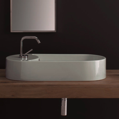 Bathroom Sink, Scarabeo 8094-One Hole, Oval-Shaped White Ceramic Vessel Sink
