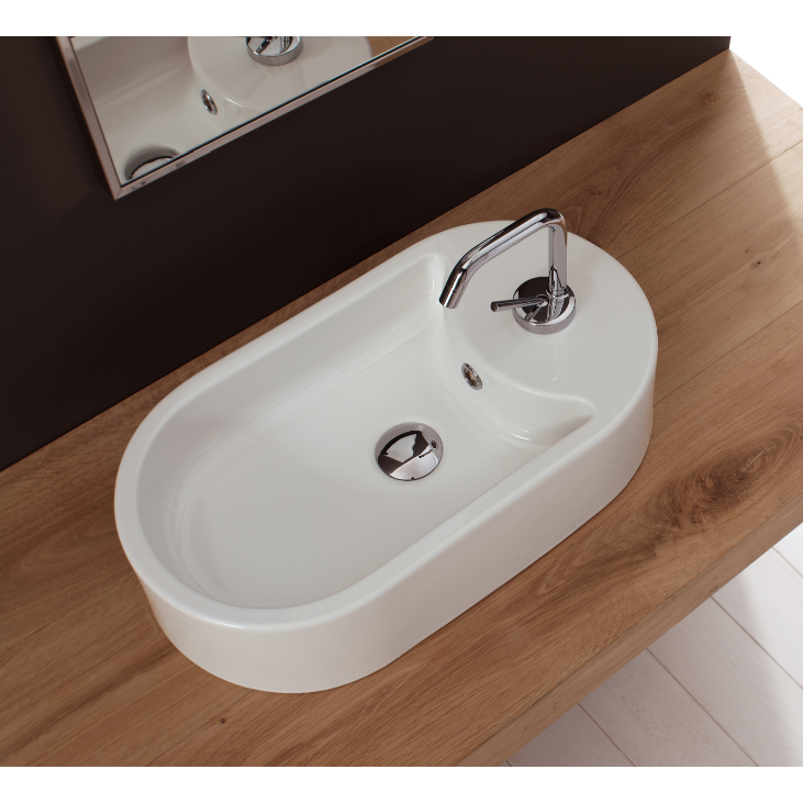 Bathroom Sink, Scarabeo 8096-One Hole, Oval-Shaped White Ceramic Vessel Sink