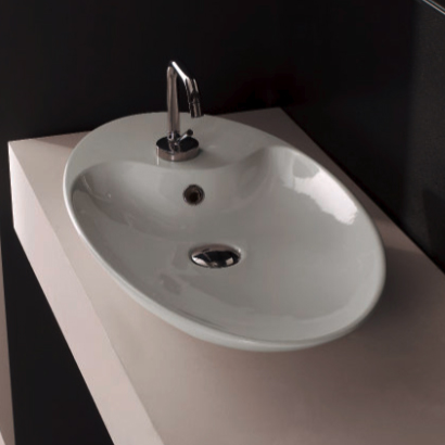 Bathroom Sink, Scarabeo 8097-One Hole, Oval-Shaped White Ceramic Vessel Sink