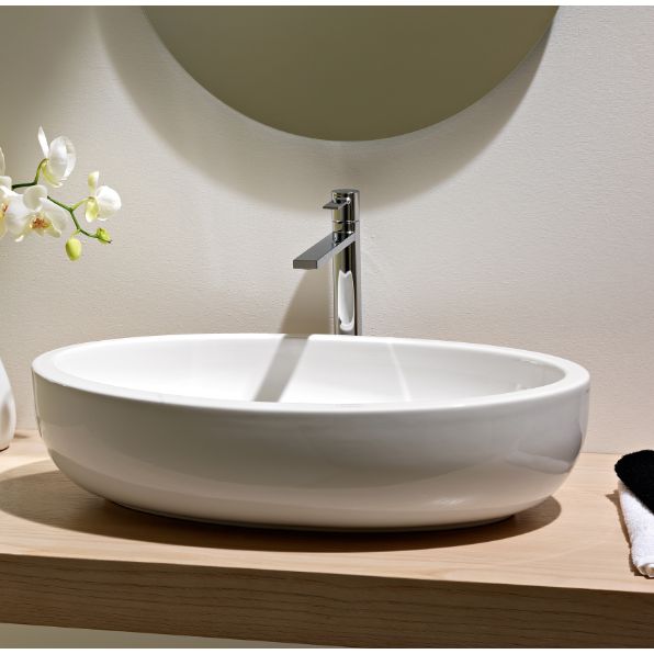 ... Sink, Scarabeo 8111, Oval Shaped White Ceramic Vessel Bathroom Sink