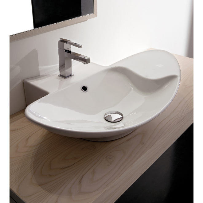 Bathroom Sink, Scarabeo 8201, Oval Shaped White Ceramic Wall Mounted Or Vessel  Sink