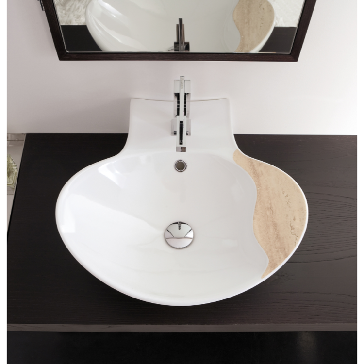 Bathroom Sink, Scarabeo 8202-One Hole, Oval-Shaped White Ceramic Wall Mounted or Vessel Sink