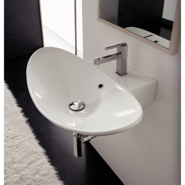 Bathroom Sink, Scarabeo 8204-One Hole, Oval-Shaped White Ceramic Wall Mounted or Vessel Sink