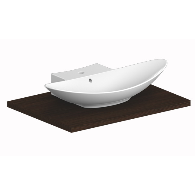 Sink, Scarabeo 8205, Oval-Shaped White Ceramic Wall Mounted or Vessel ...
