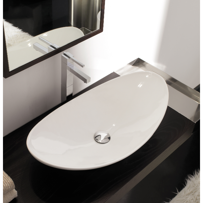 Bathroom Sink, Scarabeo 8206-No Hole, Oval-Shaped White Ceramic Vessel Sink