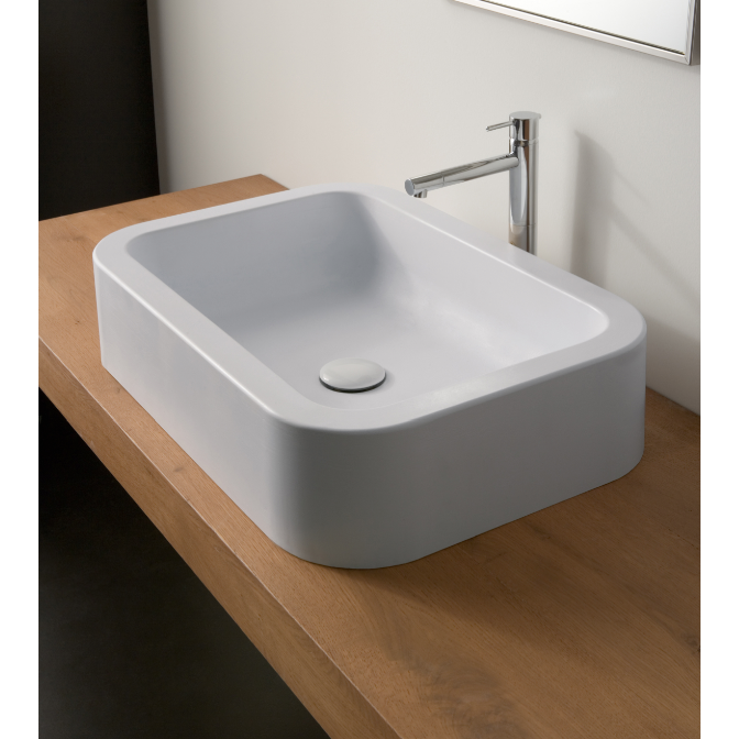 Bathroom Sink, Scarabeo 8307-No Hole, Rectangular White Ceramic Vessel Bathroom Sink