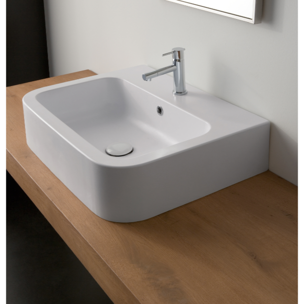 Bathroom Sink, Scarabeo 8308-One Hole, White Ceramic Vessel or Wall Mounted Bathroom Sink