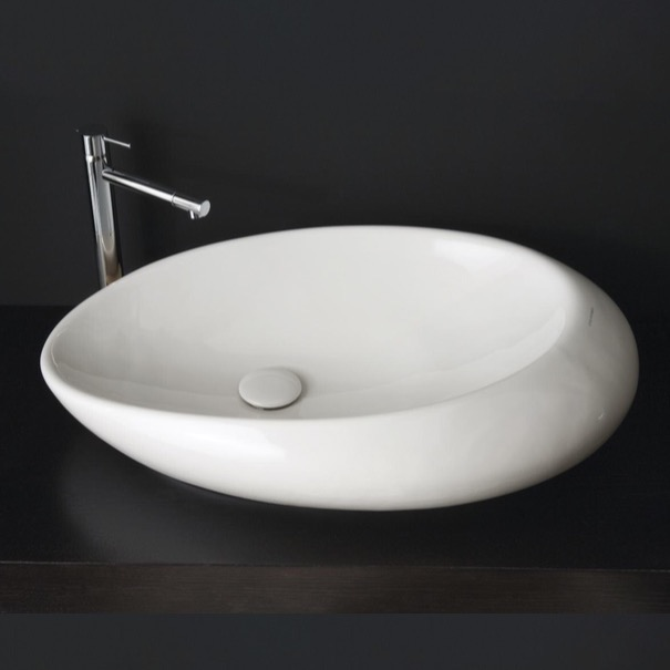 Bathroom Sink Scarabeo 8601 Oval Shaped White Ceramic Vessel