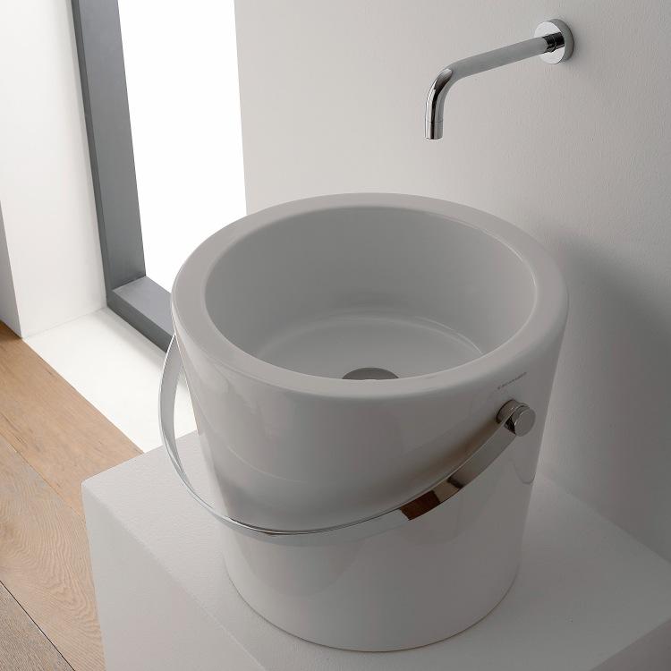 Elegant Bathroom Sink, Scarabeo 8803, Round White Bucket Ceramic Vessel Sink