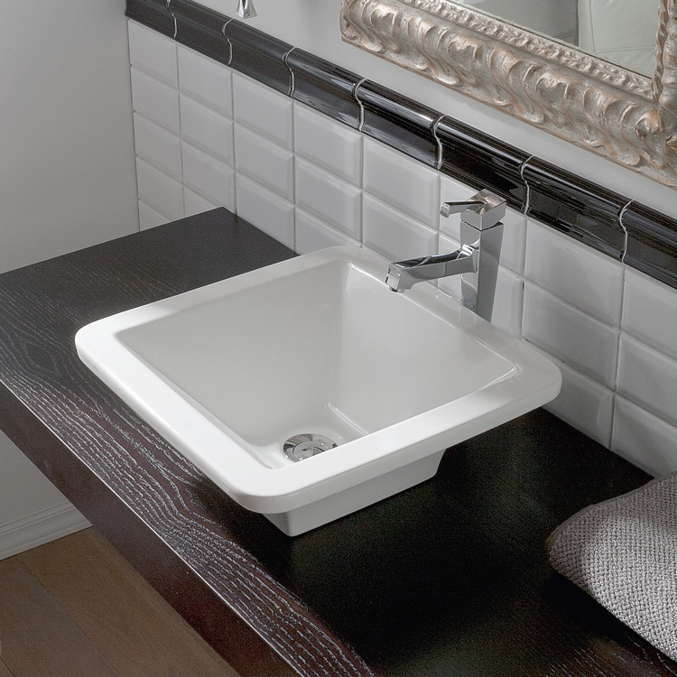 Bathroom Sink, Scarabeo 4001-No Hole, Square White Ceramic Vessel Sink