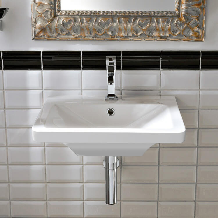 Bathroom Sink, Scarabeo 4003-One Hole, Rectangular White Ceramic Wall-Mounted or Vessel Sink